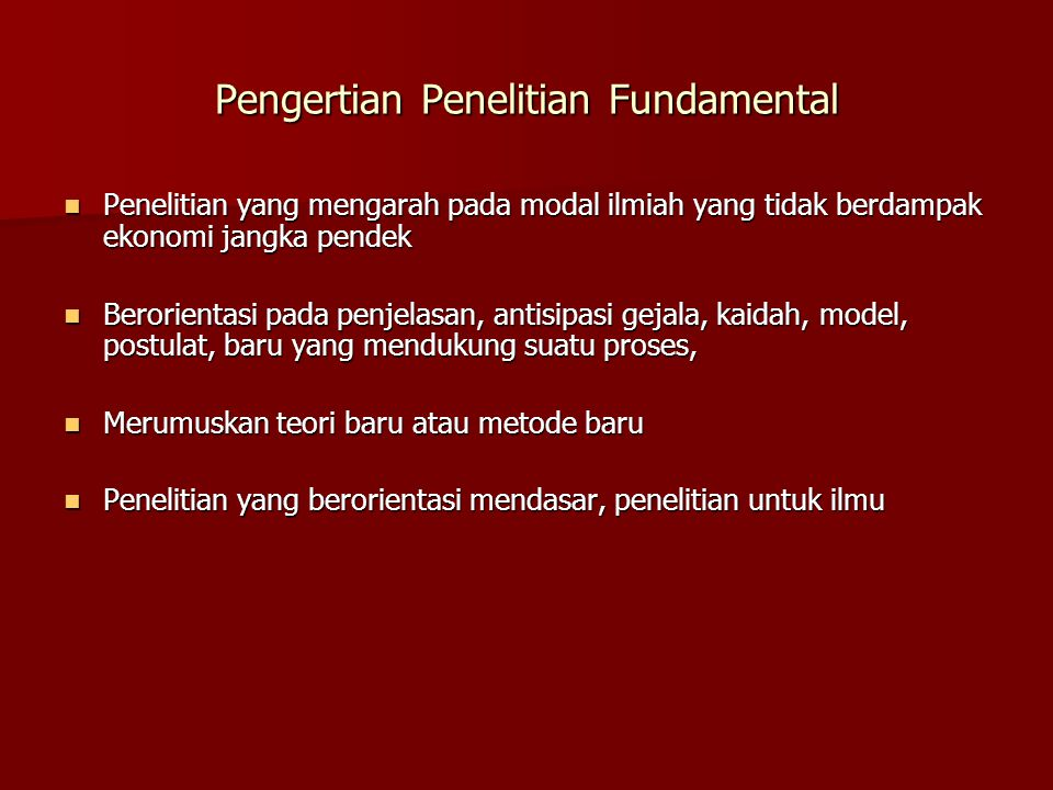 Pengertian Penelitian Fundamental