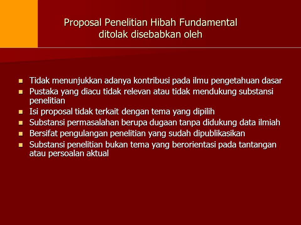 Proposal Penelitian Hibah Fundamental ditolak disebabkan oleh
