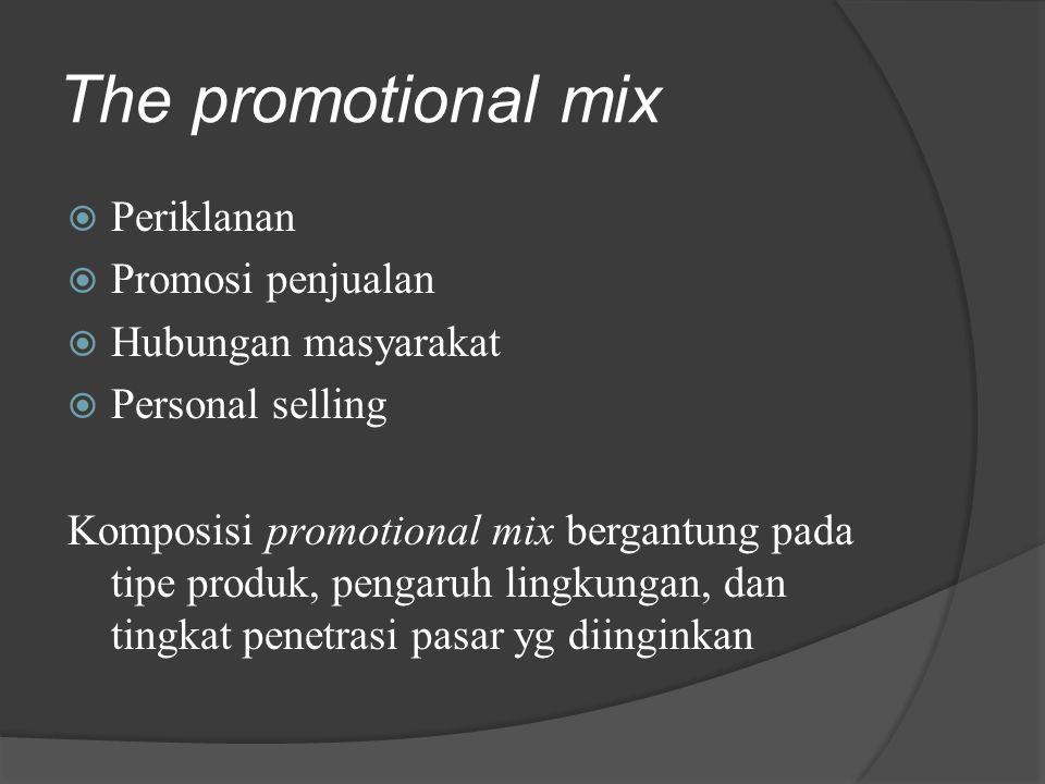 The promotional mix Periklanan Promosi penjualan Hubungan masyarakat