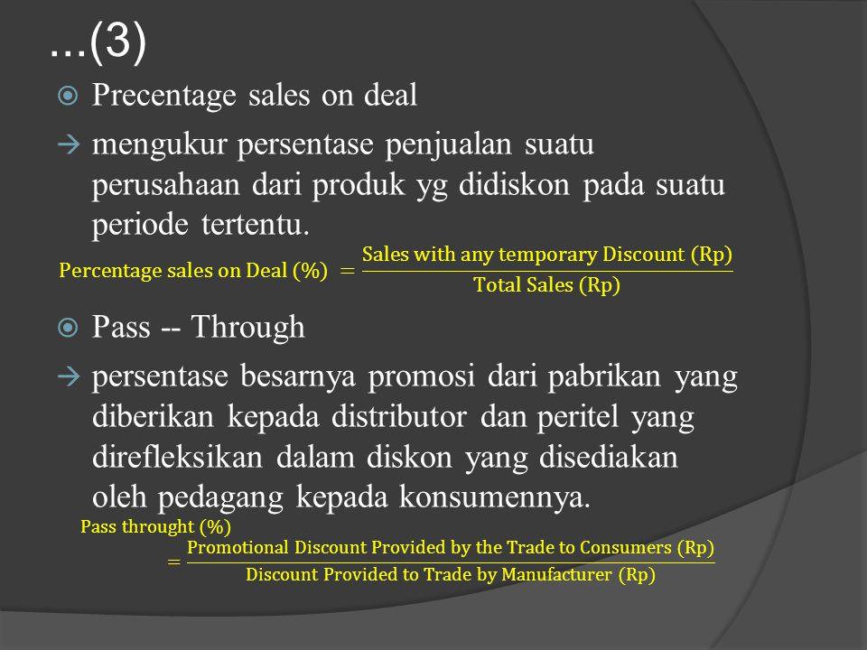 ...(3) Precentage sales on deal