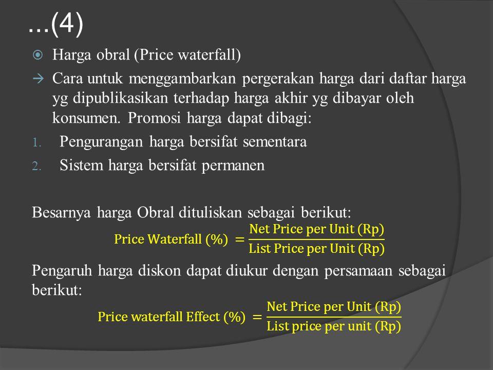...(4) Harga obral (Price waterfall)