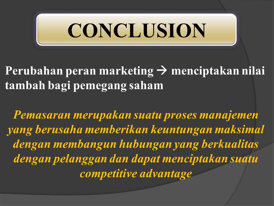 CONCLUSION Perubahan peran marketing  menciptakan nilai tambah bagi pemegang saham.