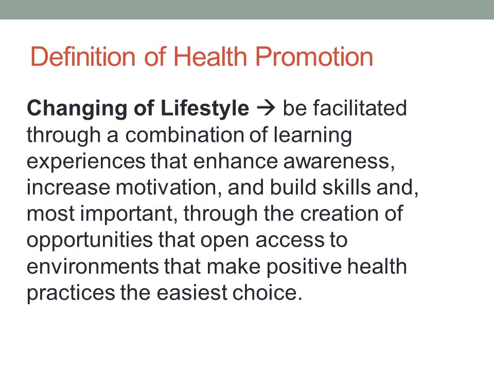 Definition of Health Promotion