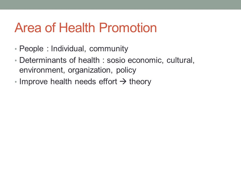 Area of Health Promotion