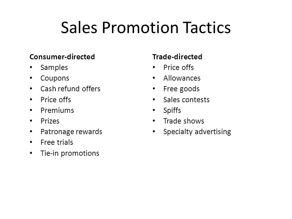 Sales Promotion Tactics