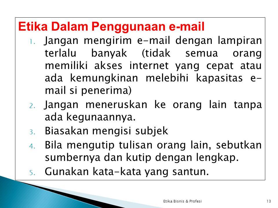 Etika Dalam Penggunaan e-mail