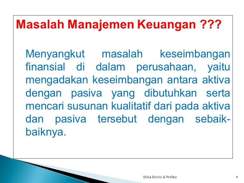 Masalah Manajemen Keuangan