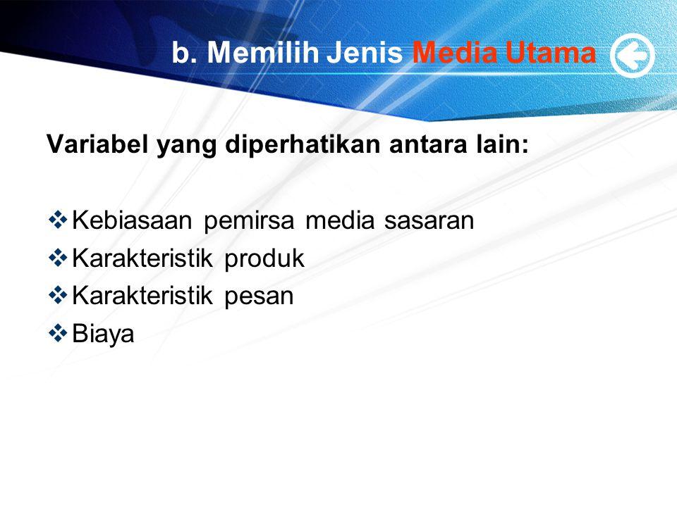 b. Memilih Jenis Media Utama
