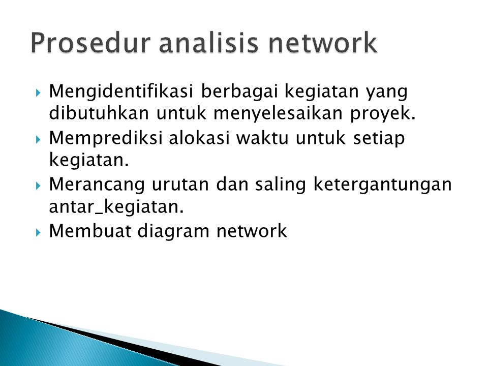 Prosedur analisis network