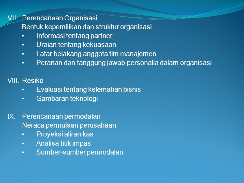 VII. Perencanaan Organisasi
