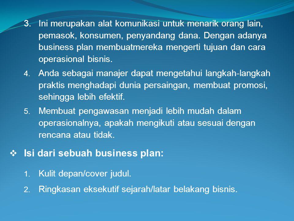 Isi dari sebuah business plan: