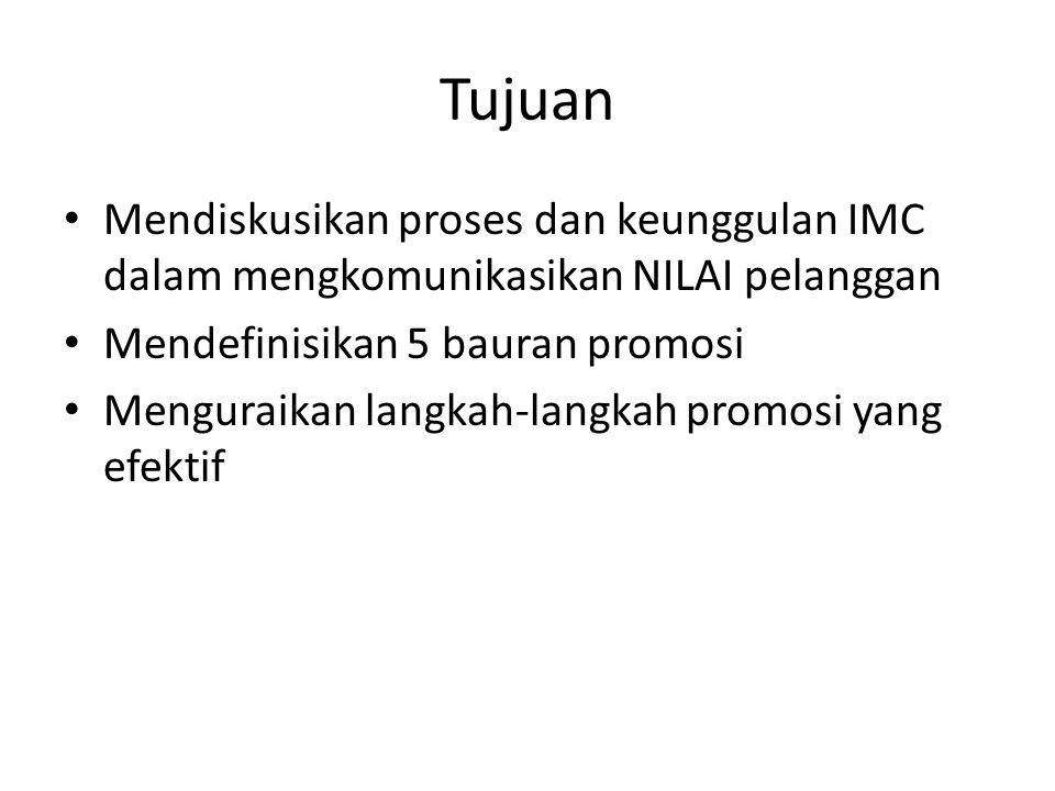 Tujuan Mendiskusikan proses dan keunggulan IMC dalam mengkomunikasikan NILAI pelanggan. Mendefinisikan 5 bauran promosi.