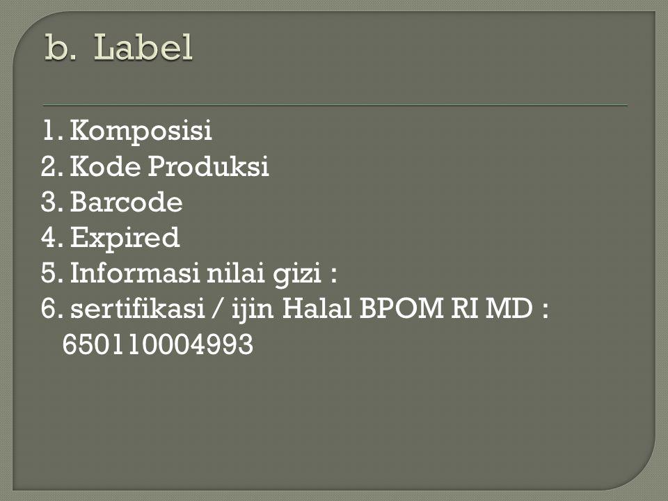 b. Label 1. Komposisi 2. Kode Produksi 3. Barcode 4. Expired