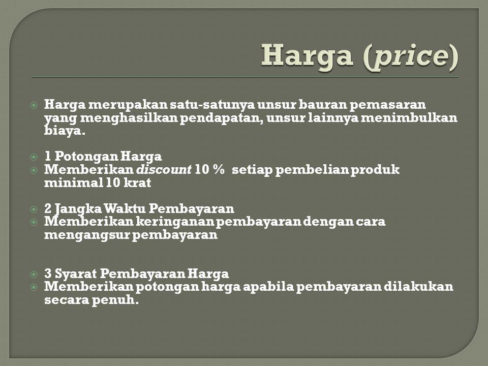 Harga (price) Harga merupakan satu-satunya unsur bauran pemasaran yang menghasilkan pendapatan, unsur lainnya menimbulkan biaya.