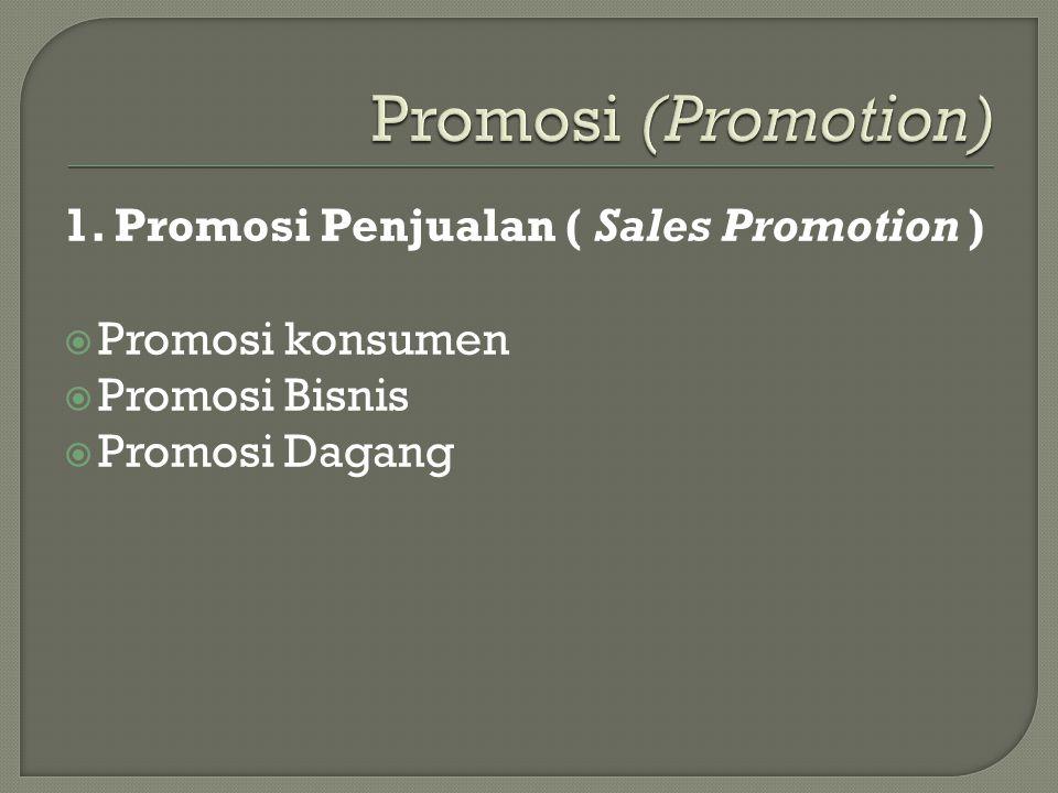 Promosi (Promotion) 1. Promosi Penjualan ( Sales Promotion )