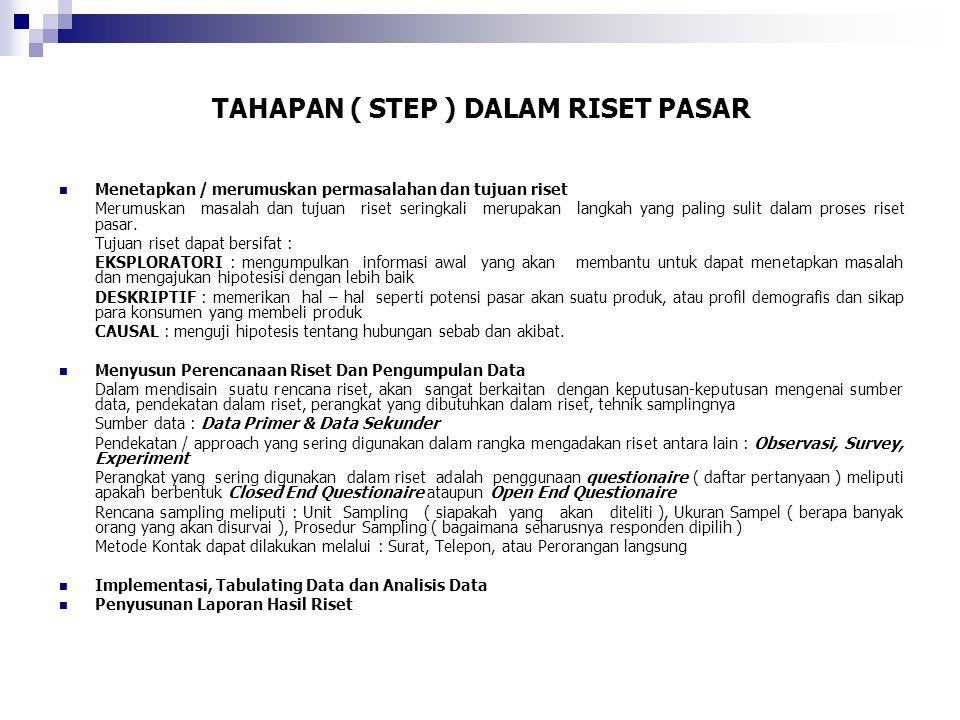 TAHAPAN ( STEP ) DALAM RISET PASAR