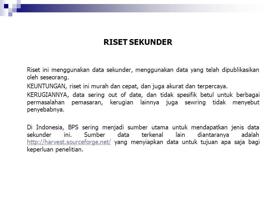 RISET SEKUNDER Riset ini menggunakan data sekunder, menggunakan data yang telah dipublikasikan oleh seseorang.