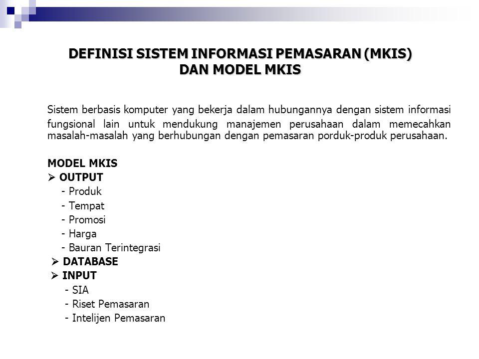 DEFINISI SISTEM INFORMASI PEMASARAN (MKIS) DAN MODEL MKIS