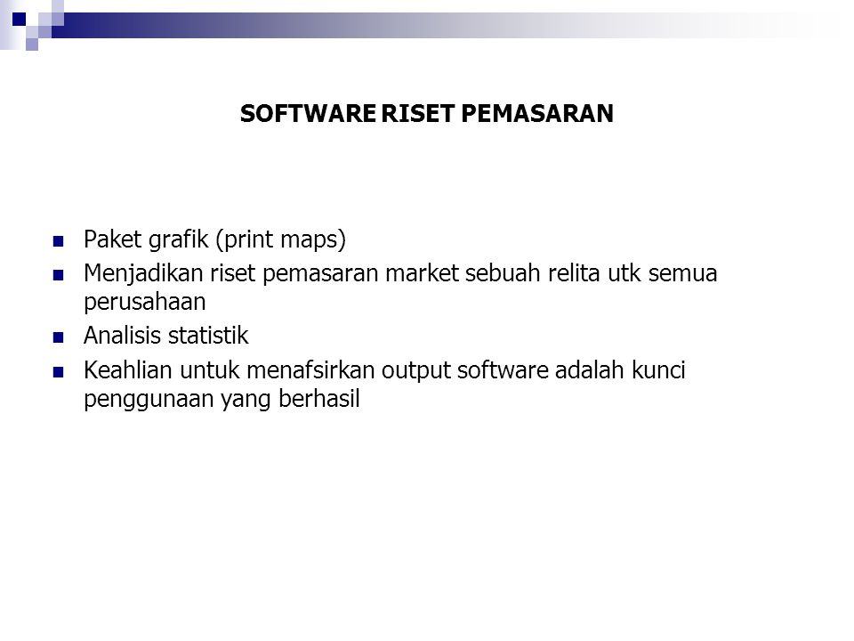 SOFTWARE RISET PEMASARAN