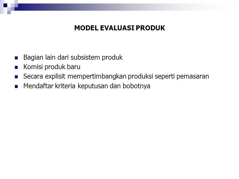 MODEL EVALUASI PRODUK Bagian lain dari subsistem produk. Komisi produk baru. Secara explisit mempertimbangkan produksi seperti pemasaran.