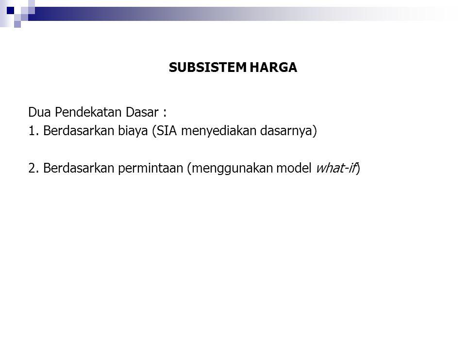 SUBSISTEM HARGA Dua Pendekatan Dasar : 1. Berdasarkan biaya (SIA menyediakan dasarnya) 2.
