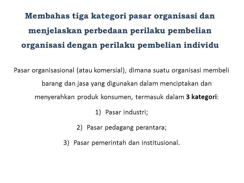 Membahas tiga kategori pasar organisasi dan menjelaskan perbedaan perilaku pembelian organisasi dengan perilaku pembelian individu
