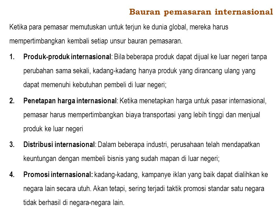 Bauran pemasaran internasional