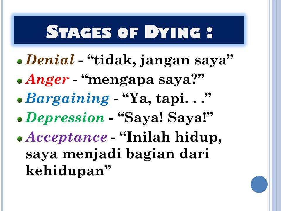 Stages of Dying : Denial - tidak, jangan saya