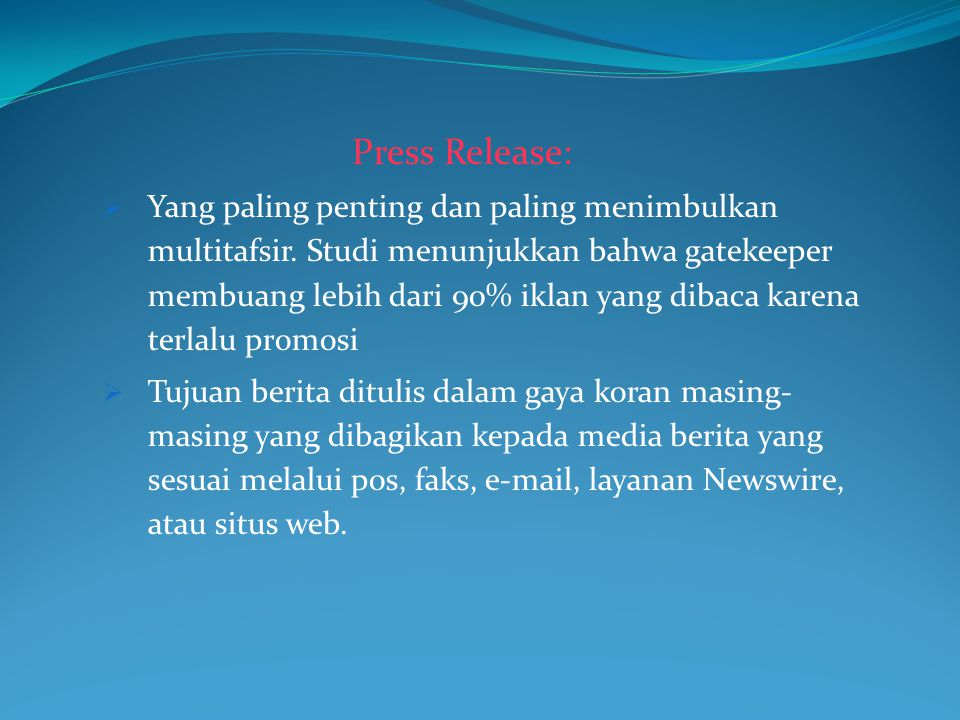 Press Release:
