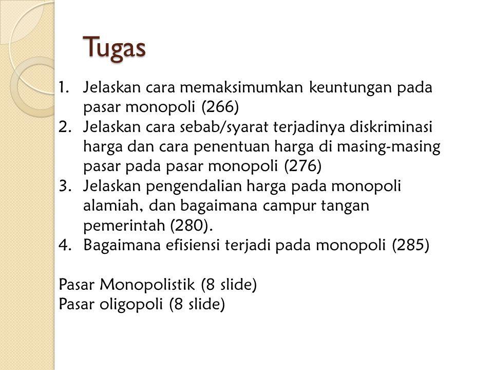 Tugas Jelaskan cara memaksimumkan keuntungan pada pasar monopoli (266)