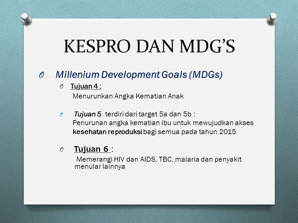 KESPRO DAN MDG'S Millenium Development Goals (MDGs) Tujuan 4 :