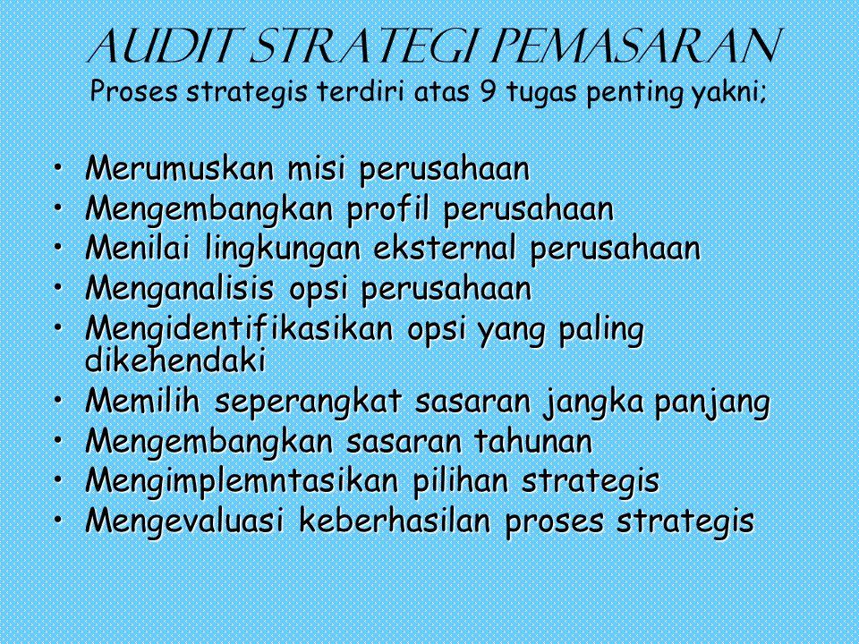 Audit strategi pemasaran Proses strategis terdiri atas 9 tugas penting yakni;