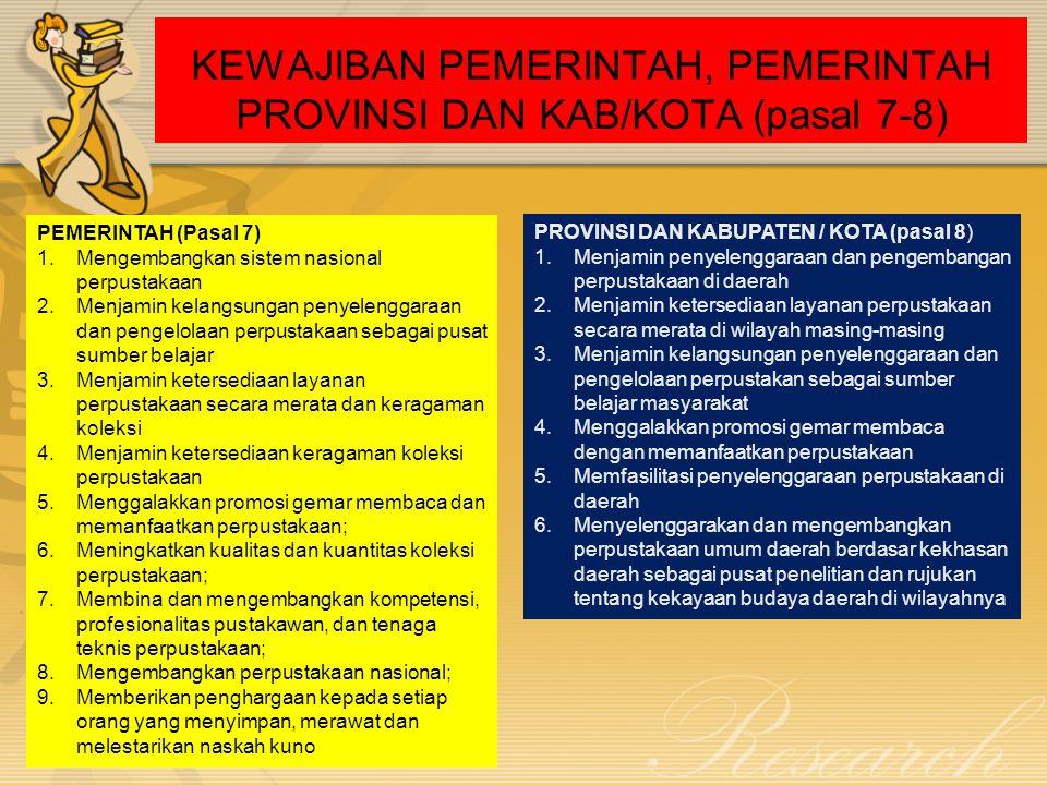 KEWAJIBAN PEMERINTAH, PEMERINTAH PROVINSI DAN KAB/KOTA (pasal 7-8)