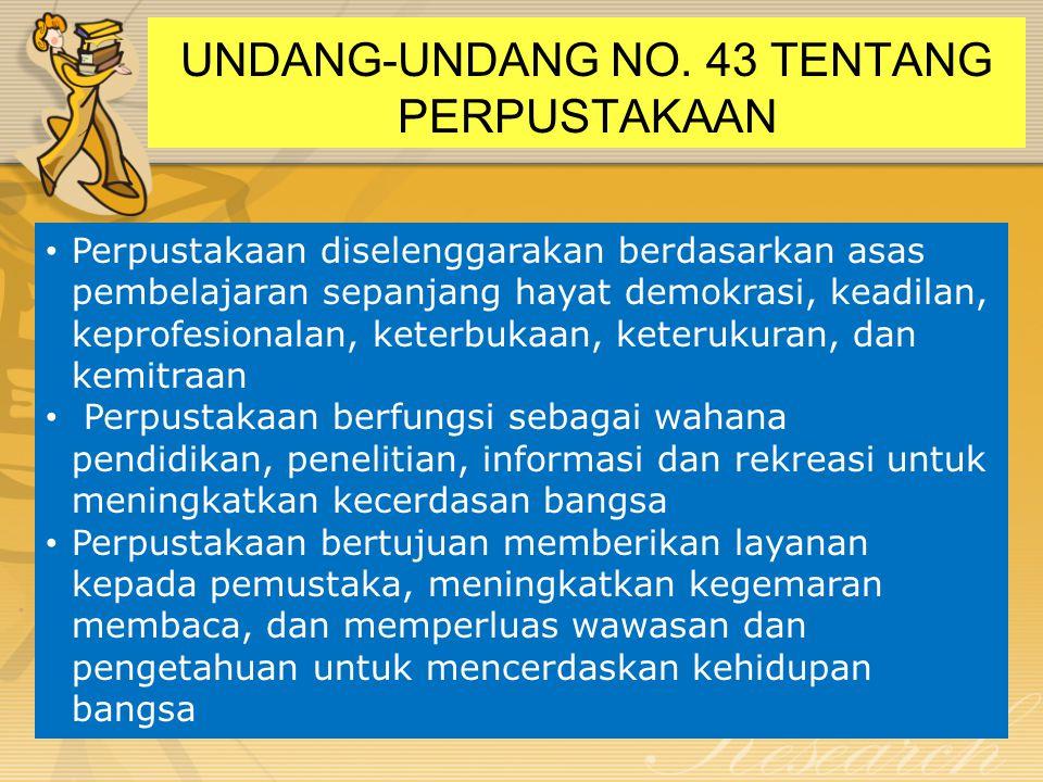 UNDANG-UNDANG NO. 43 TENTANG PERPUSTAKAAN