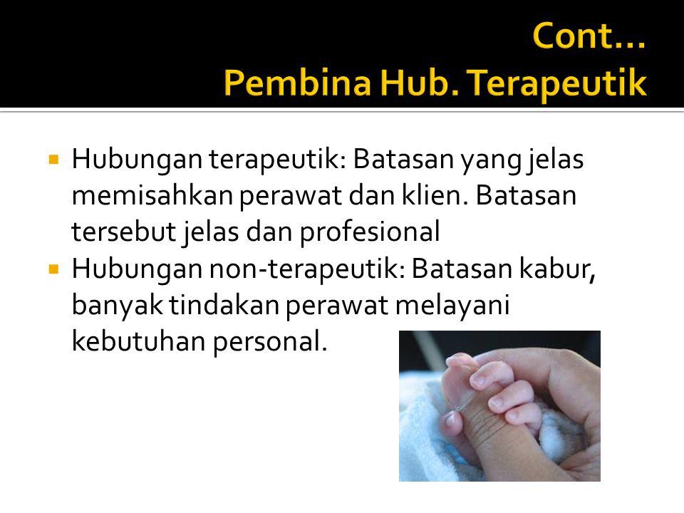 Cont… Pembina Hub. Terapeutik