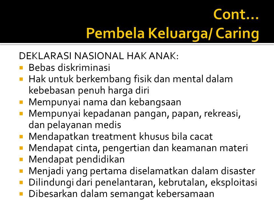Cont... Pembela Keluarga/ Caring