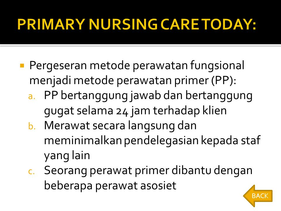 PRIMARY NURSING CARE TODAY: