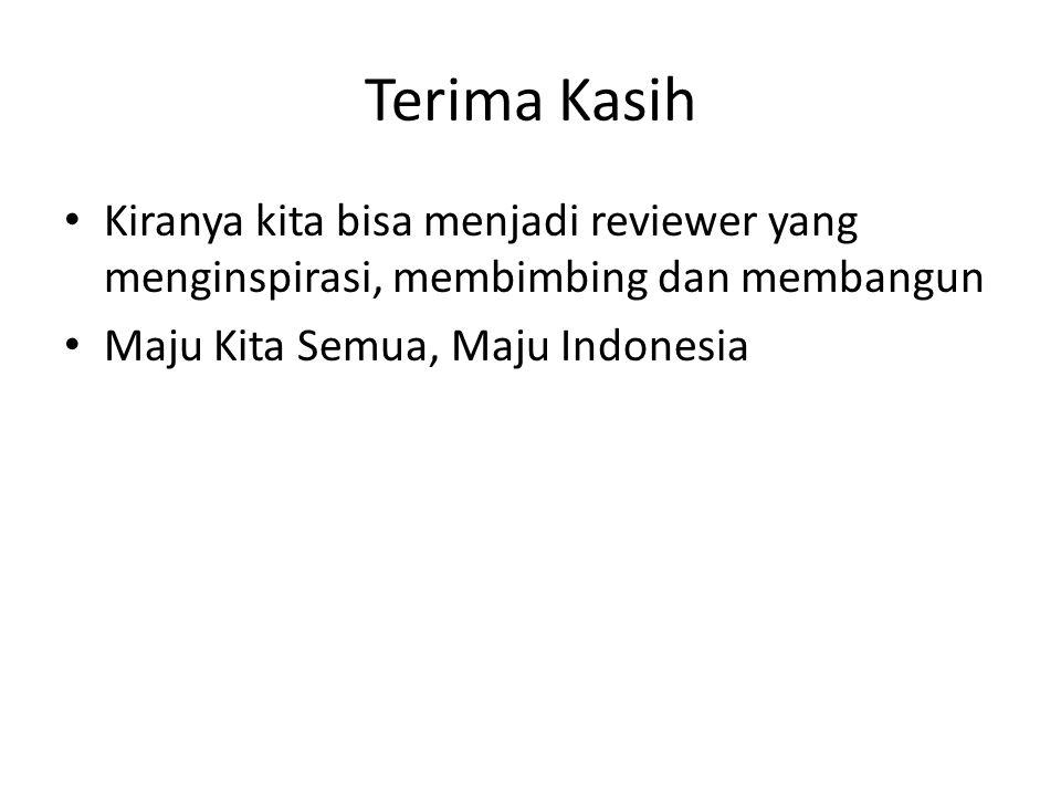 Terima Kasih Kiranya kita bisa menjadi reviewer yang menginspirasi, membimbing dan membangun.
