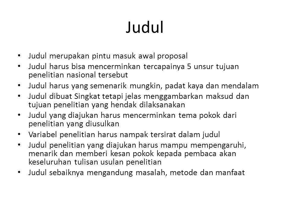 Judul Judul merupakan pintu masuk awal proposal
