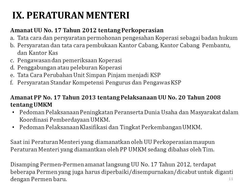 IX. PERATURAN MENTERI Amanat UU No. 17 Tahun 2012 tentang Perkoperasian.