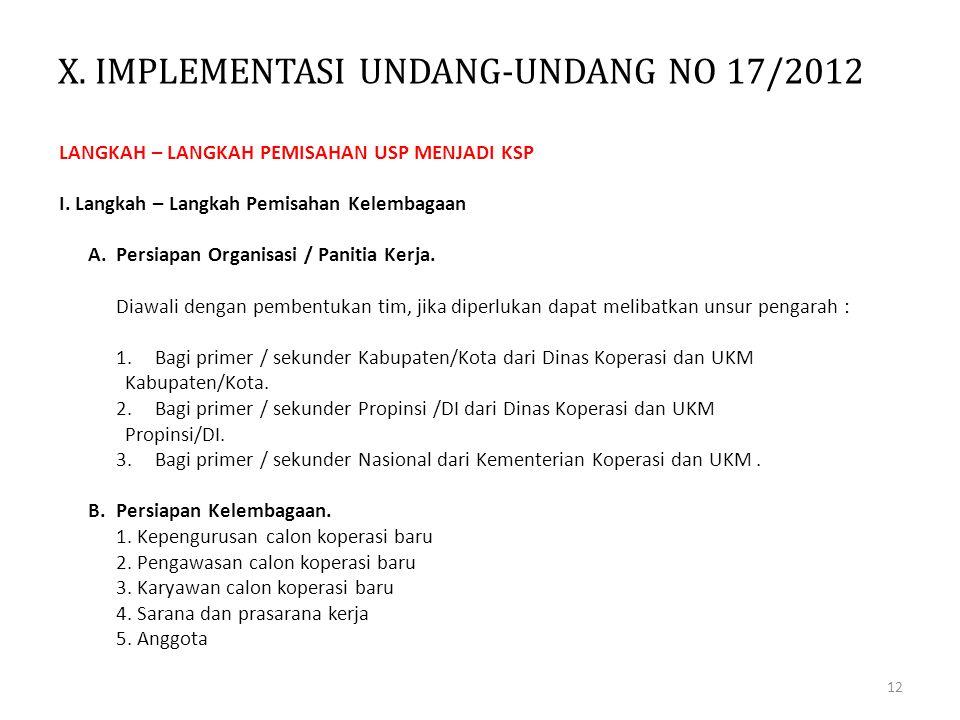 X. IMPLEMENTASI UNDANG-UNDANG NO 17/2012