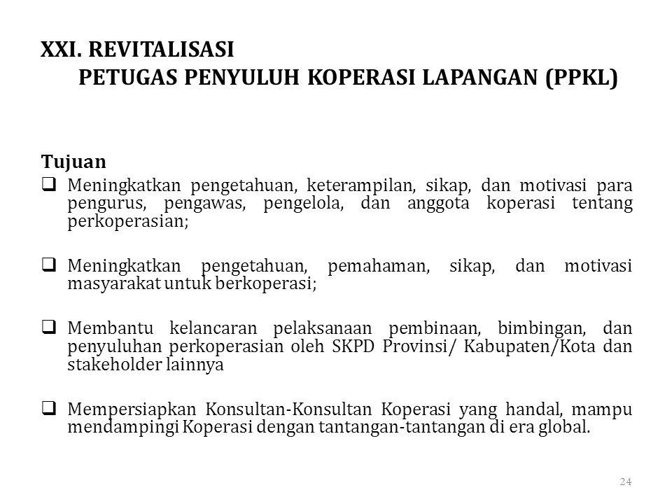 XXI. REVITALISASI PETUGAS PENYULUH KOPERASI LAPANGAN (PPKL)