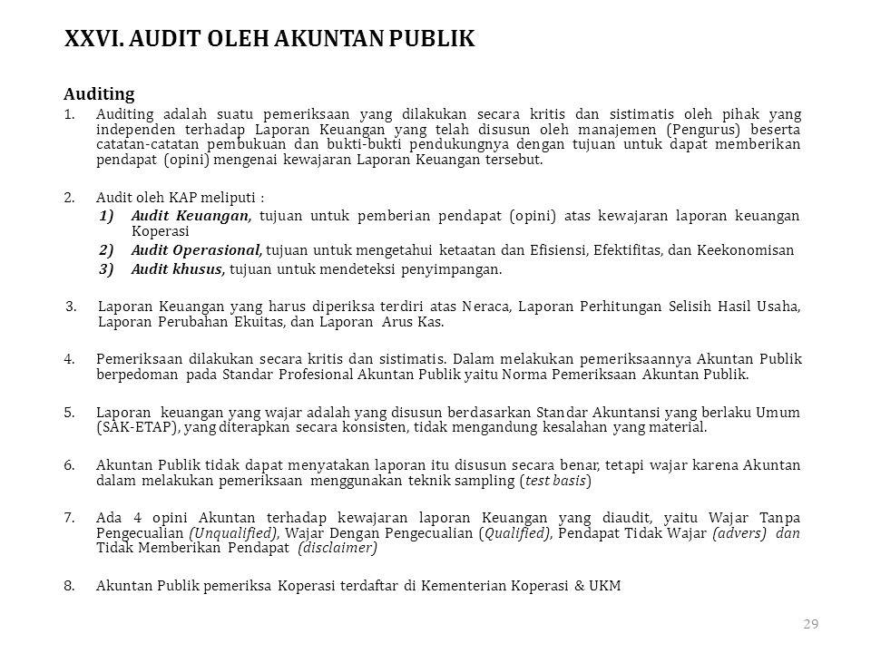 XXVI. AUDIT OLEH AKUNTAN PUBLIK