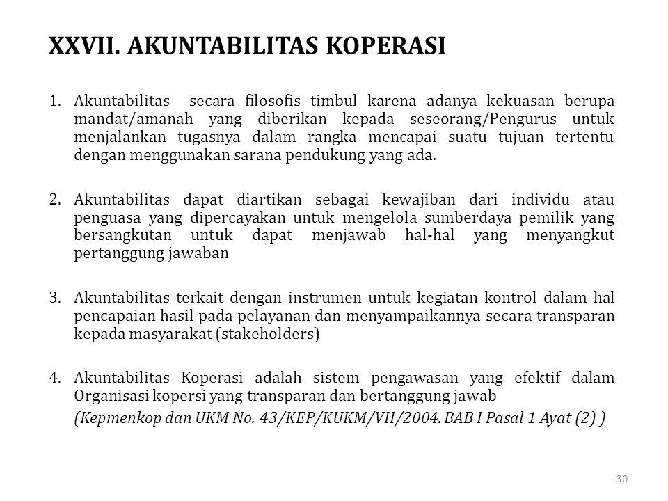 XXVII. AKUNTABILITAS KOPERASI