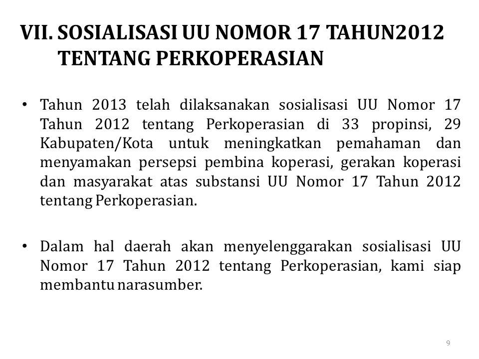 VII. SOSIALISASI UU NOMOR 17 TAHUN2012 TENTANG PERKOPERASIAN