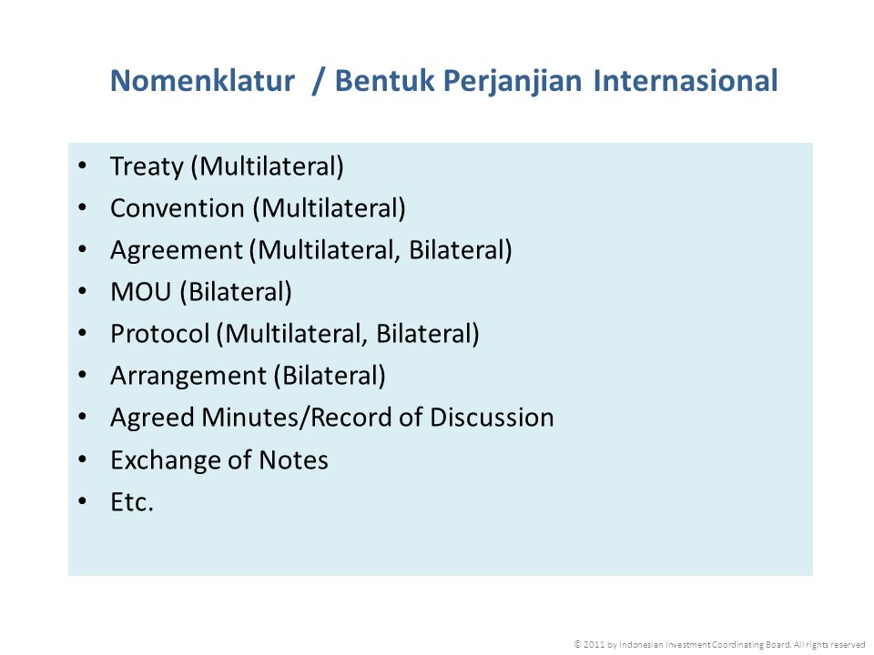 Nomenklatur / Bentuk Perjanjian Internasional
