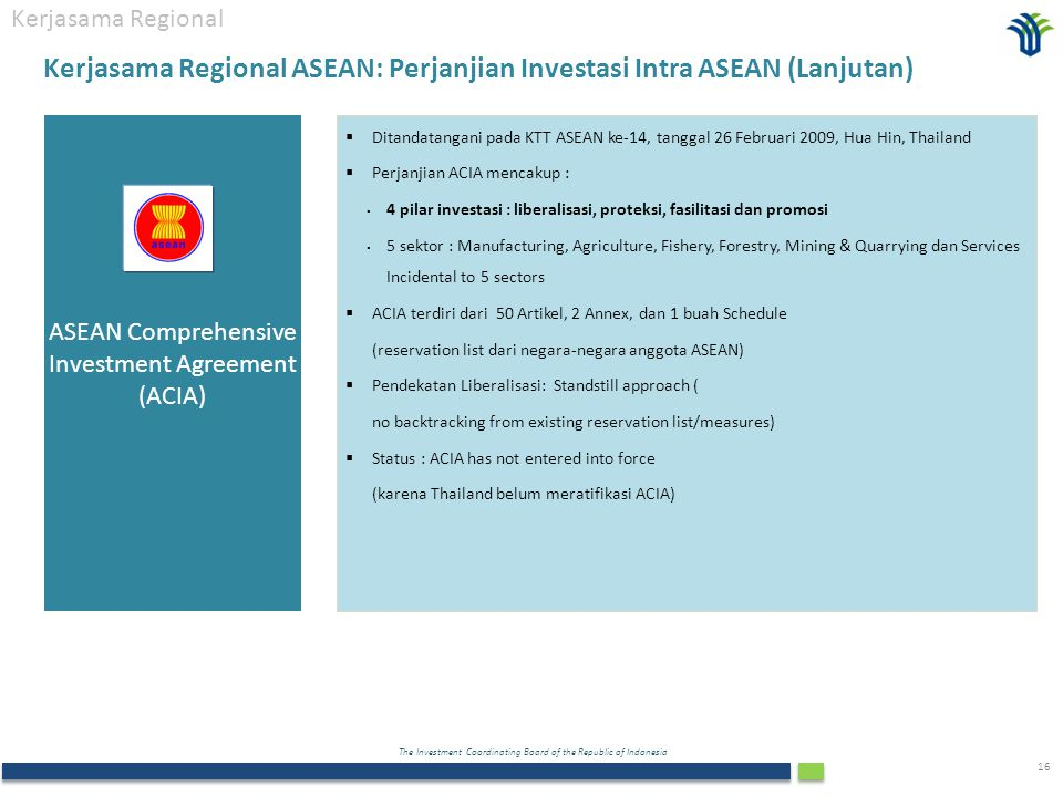 Kerjasama Regional ASEAN: Perjanjian Investasi Intra ASEAN (Lanjutan)