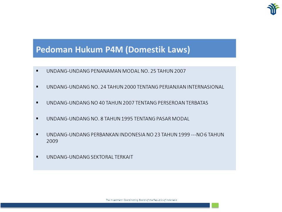 Pedoman Hukum P4M (Domestik Laws)