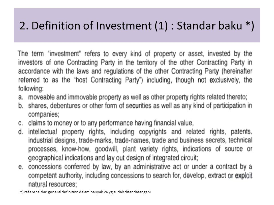 2. Definition of Investment (1) : Standar baku *)