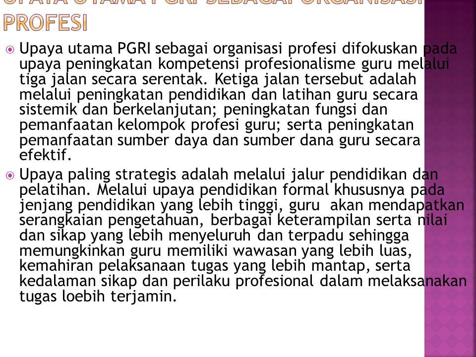 Upaya Utama PGRI Sebagai Organisasi Profesi